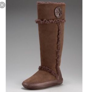 Tory Burch Reva Tall Shearling Moccasin Boots 9